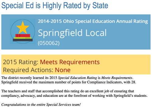 Special Services 14-15 Rating Springfield Local Schools